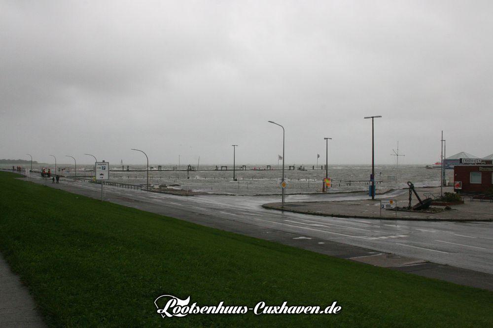 Strumflut in Cuxhaven an der Nordsee