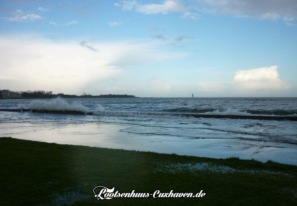 Cuxhaven Grimmershörnbucht Dezember leichte Sturmflut