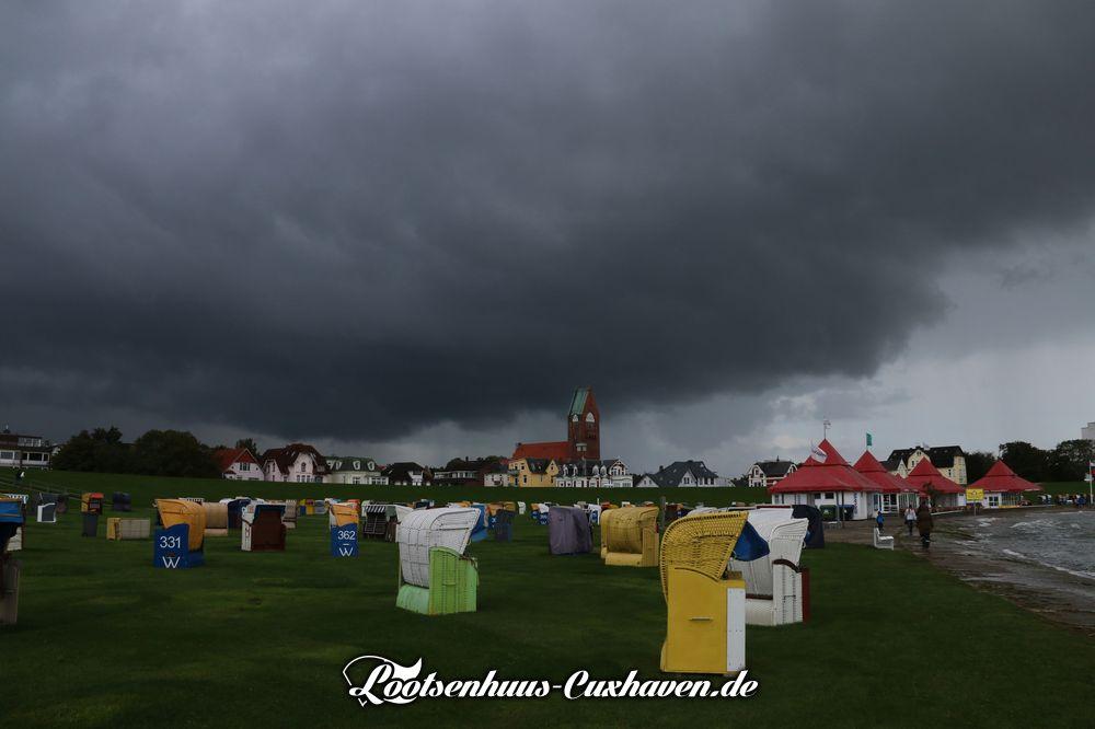 Cuxhaven Wetterfoto September 2018 Sturm und leichte Sturmflut in Grimmershörn